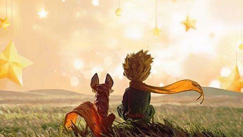 Dibujo del zorro junto al Principito observando las estrellas