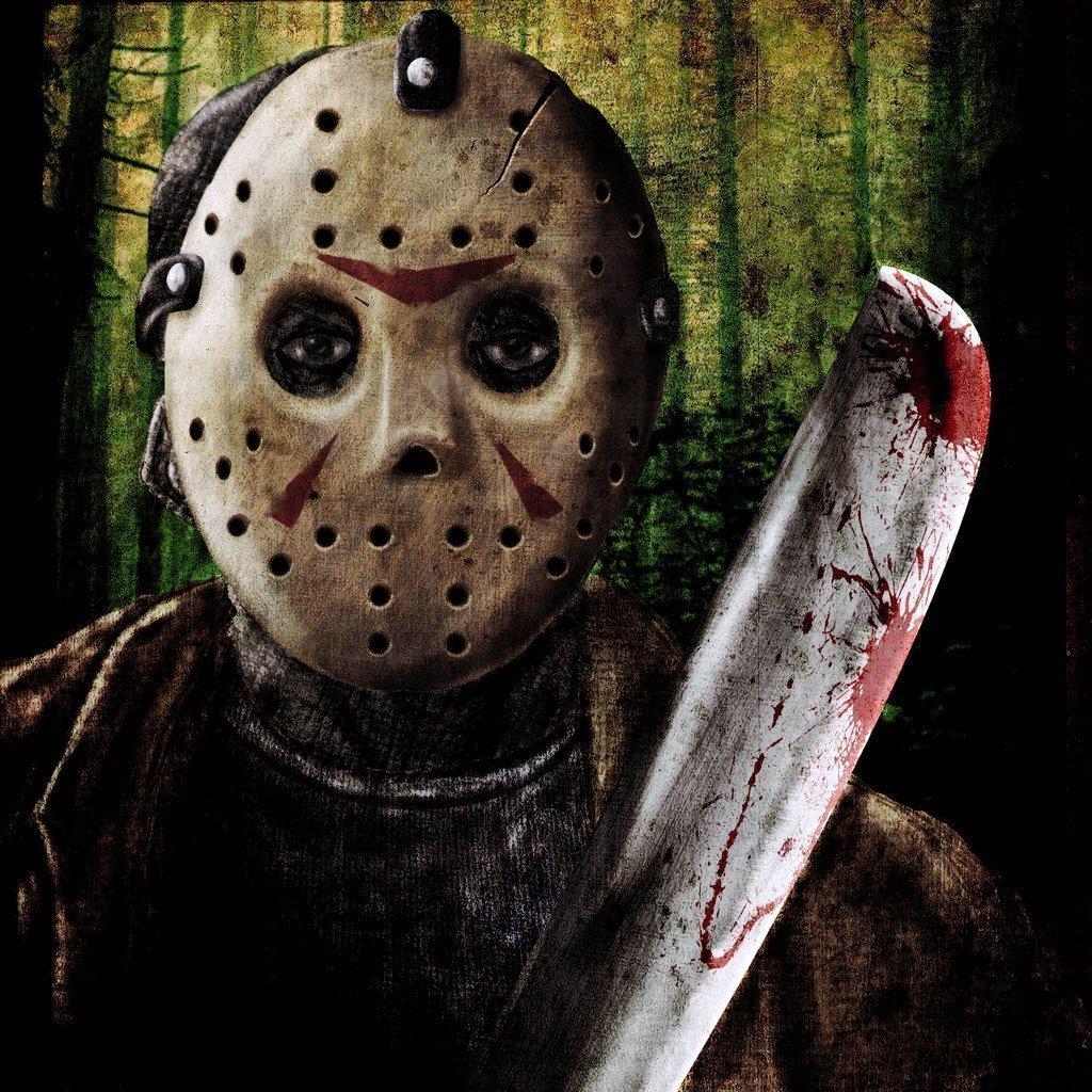 Foto de Jason Voorhes con su máscara y un machete ensangrentado