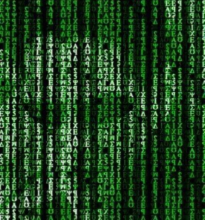 Foto tres caras de los personajes de Matrix codificadas por ordenador
