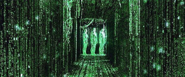 Foto de tres agentes de Matrix codificados por ordenador