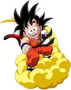 Foto de un dibujo de Goku subido en su nube