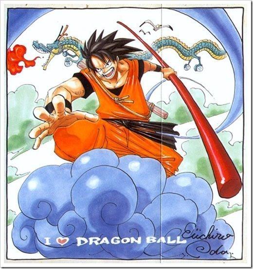 Dibujo de Goku hecho por Eiichiro Oda