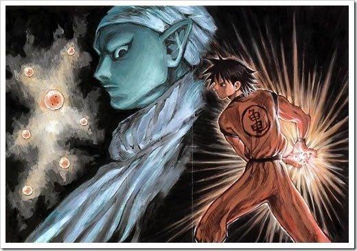 Dibujo de Piccolo y Goku creado por Norihiro Yagi, creador de Angel Densetsu.