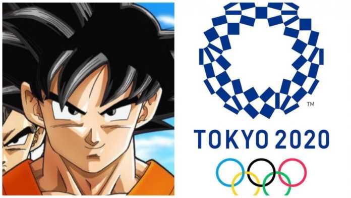 Foto de Goku junto con el cartel de los Juegos Olímpicos de Tokyo