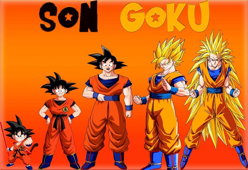 Foto de Goku en distintas fases