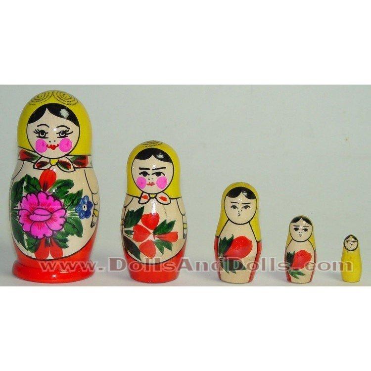 Matrioska muñeca rusa - Amarillo con flor