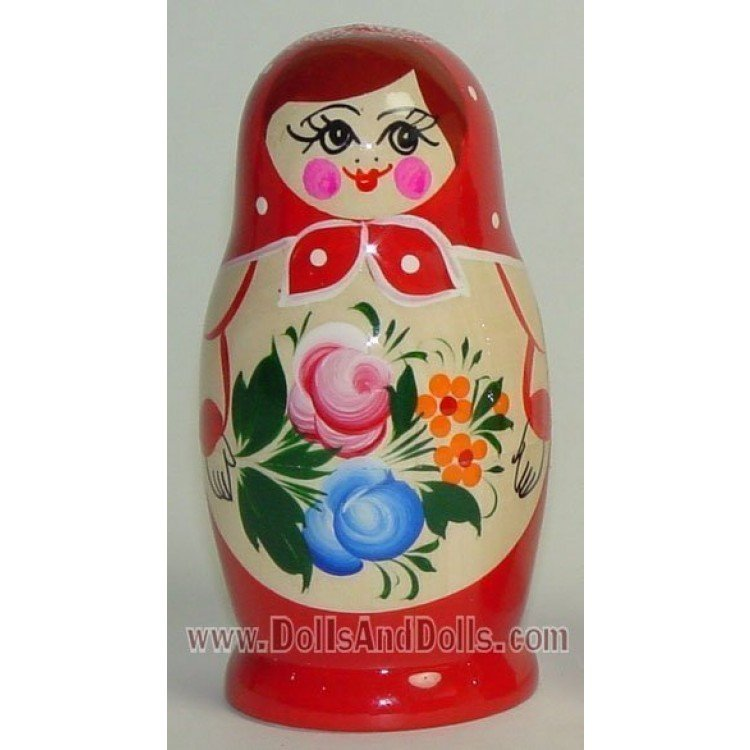 Matrioska muñeca rusa - Rojo con flor