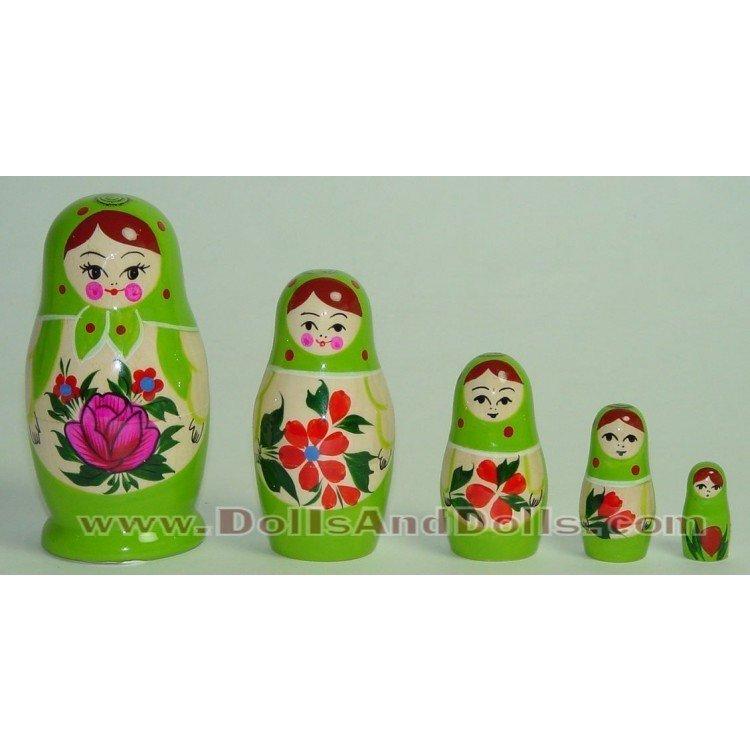 Matrioska muñeca rusa - Verde con flor