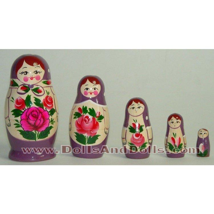 Matrioska muñeca rusa - Morado con flor