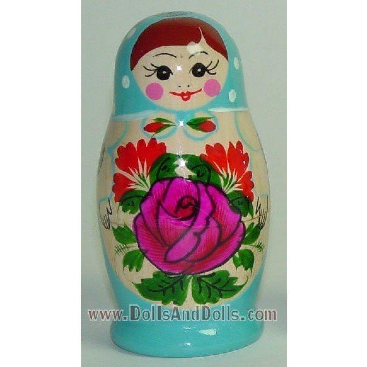 Matrioska muñeca rusa - Azul celeste con flor