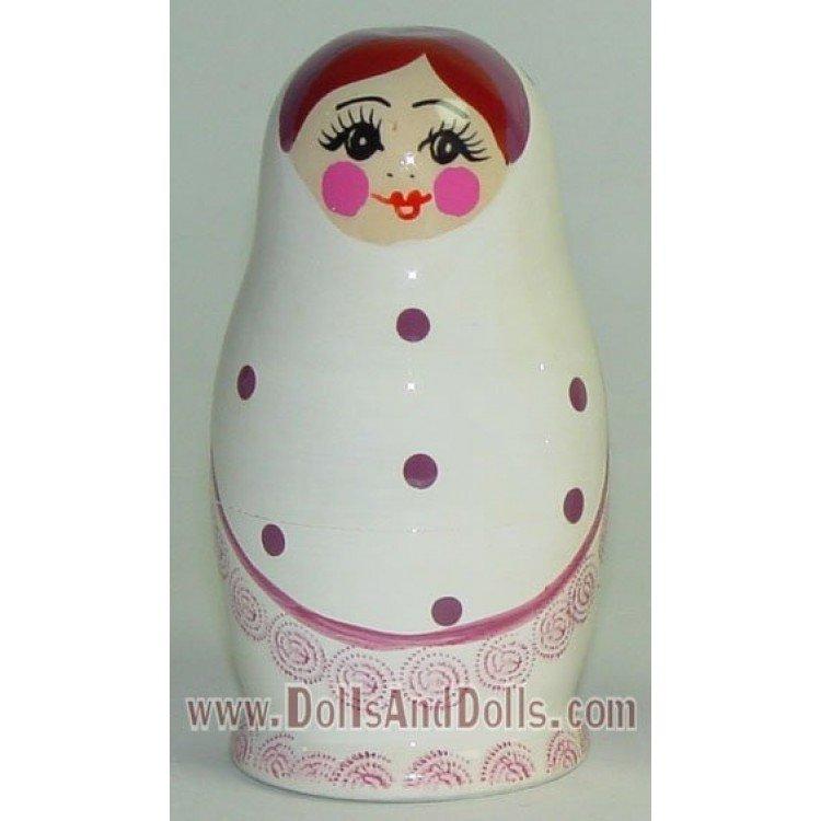 Matrioska muñeca rusa - Blanco con lunares