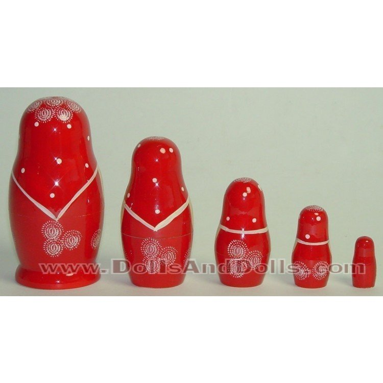 Matryoshka Russian doll - Red with flower