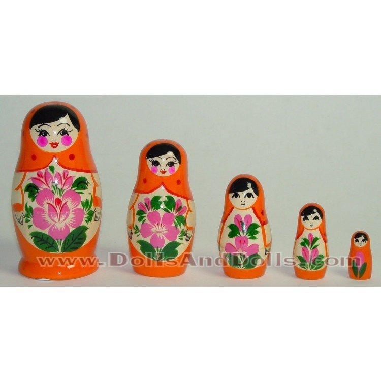Matryoshka Russian doll - Orange with flower