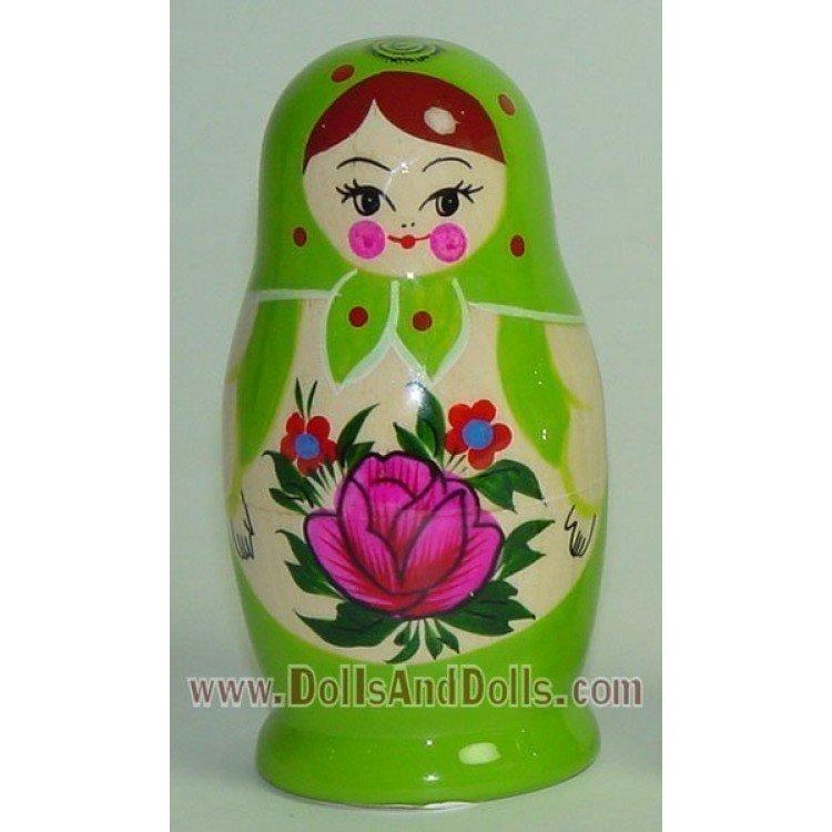 Matryoshka Russian doll - Green with flower