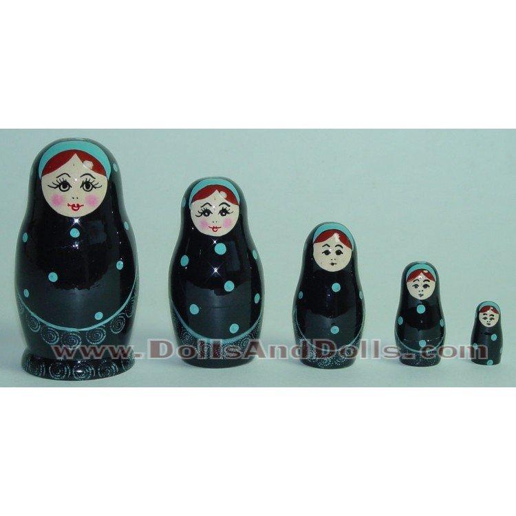 Matryoshka Russian doll - Black with polka dots