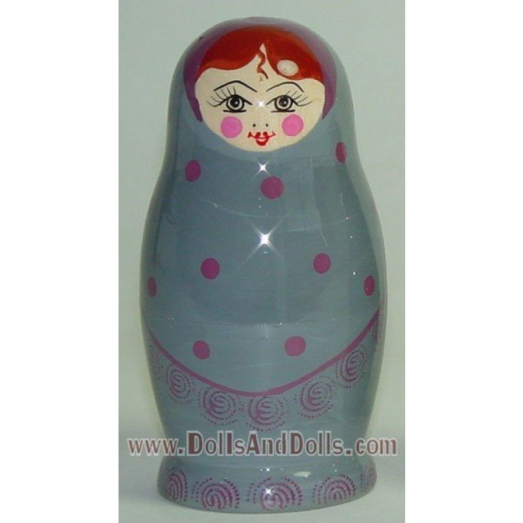 Matryoshka Russian doll - Gray with polka dots