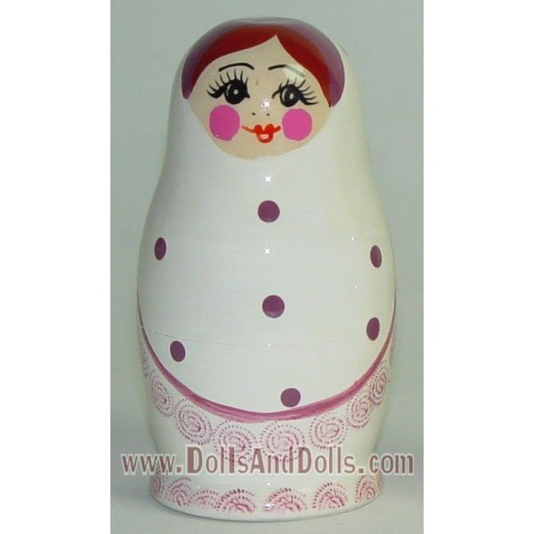 Matryoshka Russian doll - White with polka dots